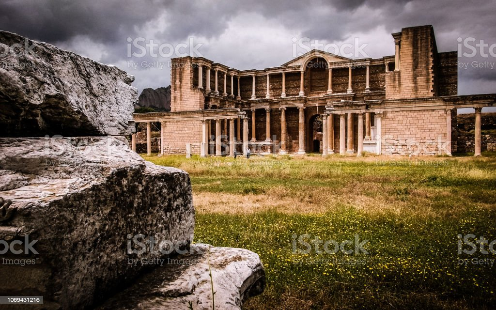 The Architecture and Ruins of Sardis, Turkey stock photo