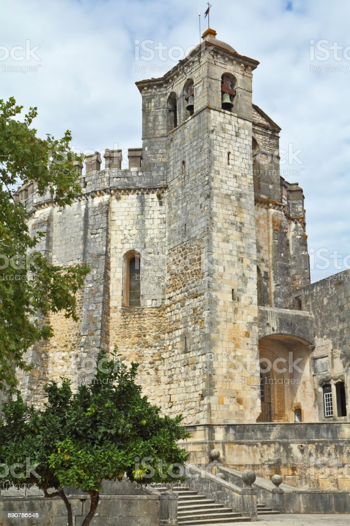 The architecture of the castle Templars stock photo
