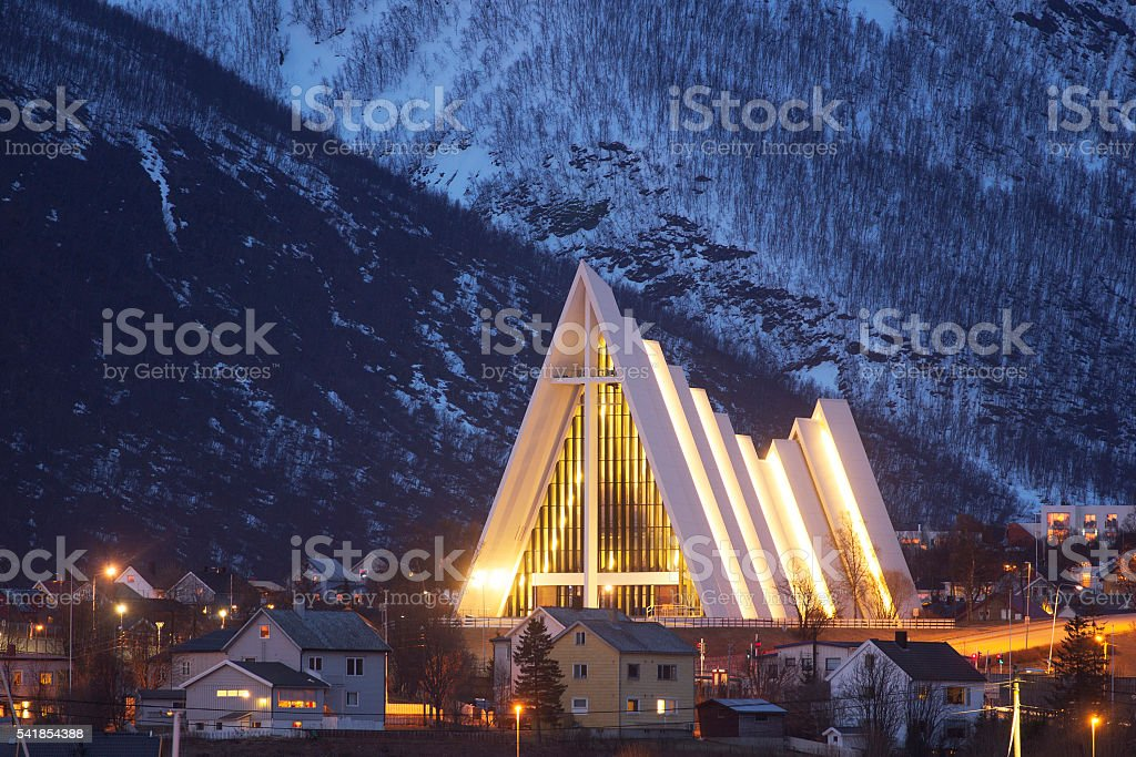 The arctic cathedral in Tromso. stock photo