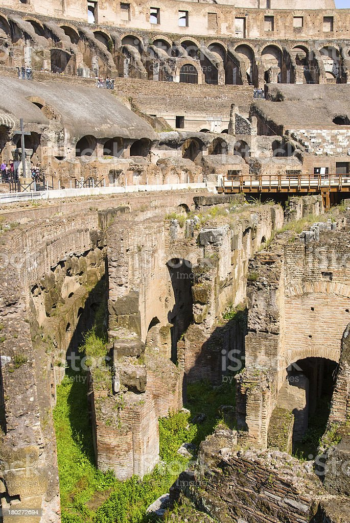 The arena at ancient Coliseum in Rome, Italy royalty-free stock photo