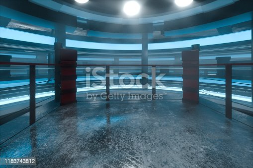 istock The arena in a dark room, 3d rendering. 1183743812
