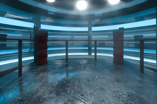 istock The arena in a dark room, 3d rendering. 1183743812