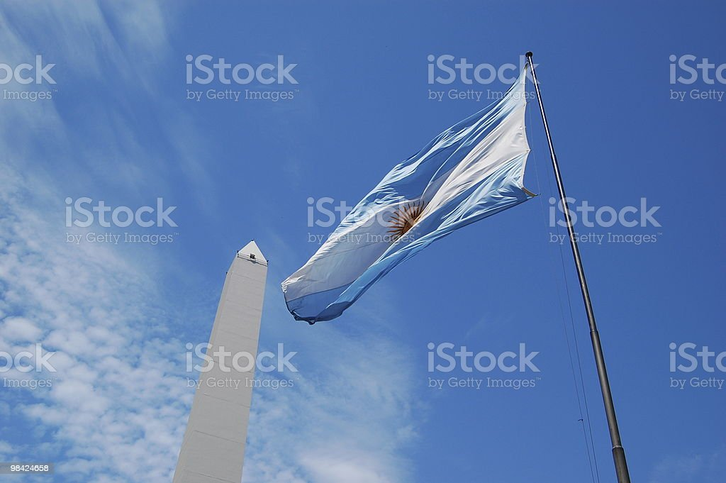 The Argentine Flag and Obelisk royalty-free stock photo