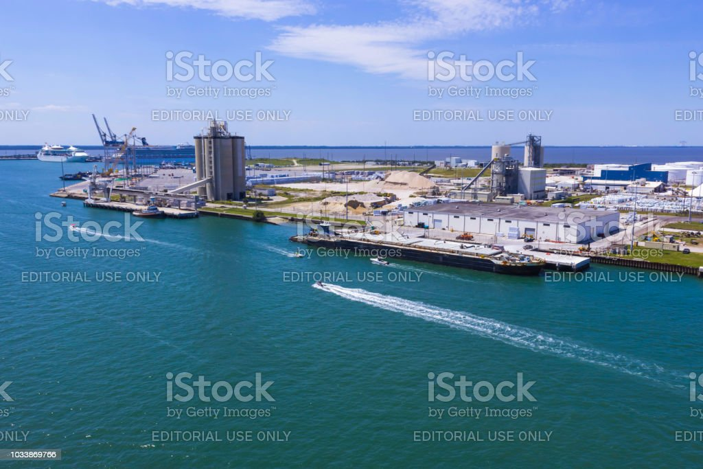 The arial view of port Canaveral stock photo