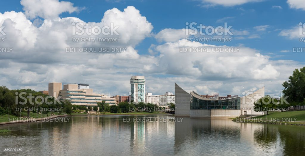 Wichita, Kansas, USA - August 13, 2017: The Arkansas River and downtown Wichita from the Keeper of the Plains statue stock photo