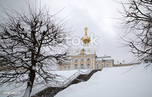 Saint Petersburg, Russia. January 2019 : The Armorial Pavilion of The Grand Palace of The State Museum Preserve Peterhof. In this pavilion there are Special Imperial Collections