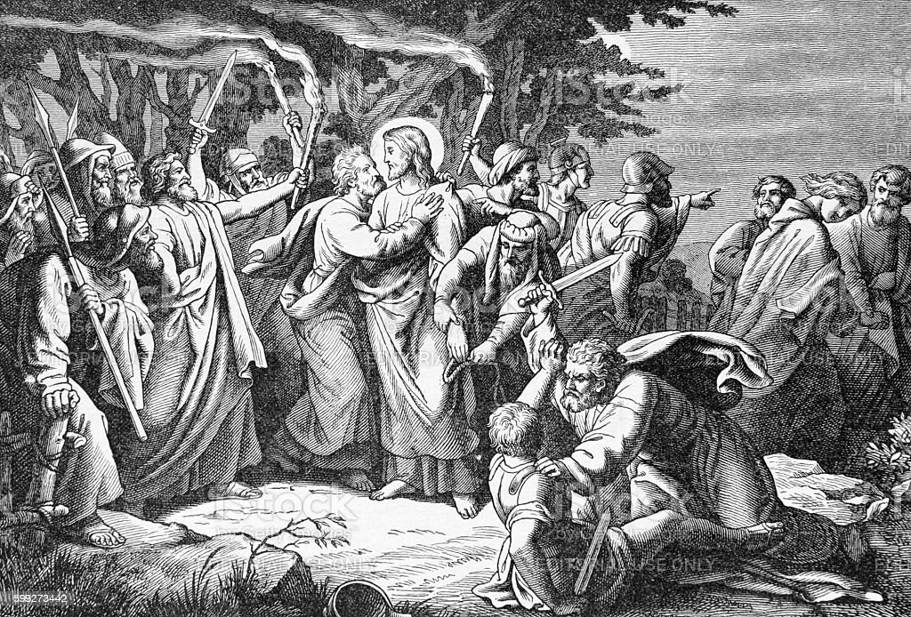The arresting of Jesus in Gethsemane garden lithography
