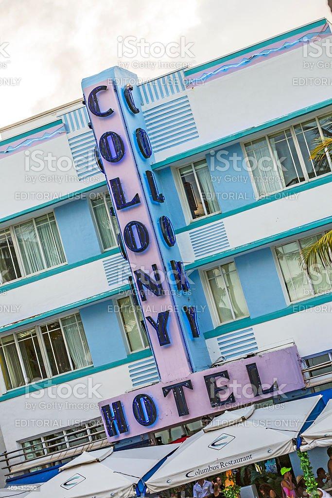 The art deco Colony Hotel on iconic Ocean Drive stock photo