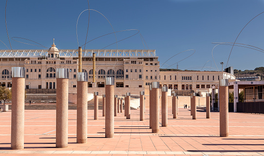 The art installation in front of Stadio Olympico, Barcelona
