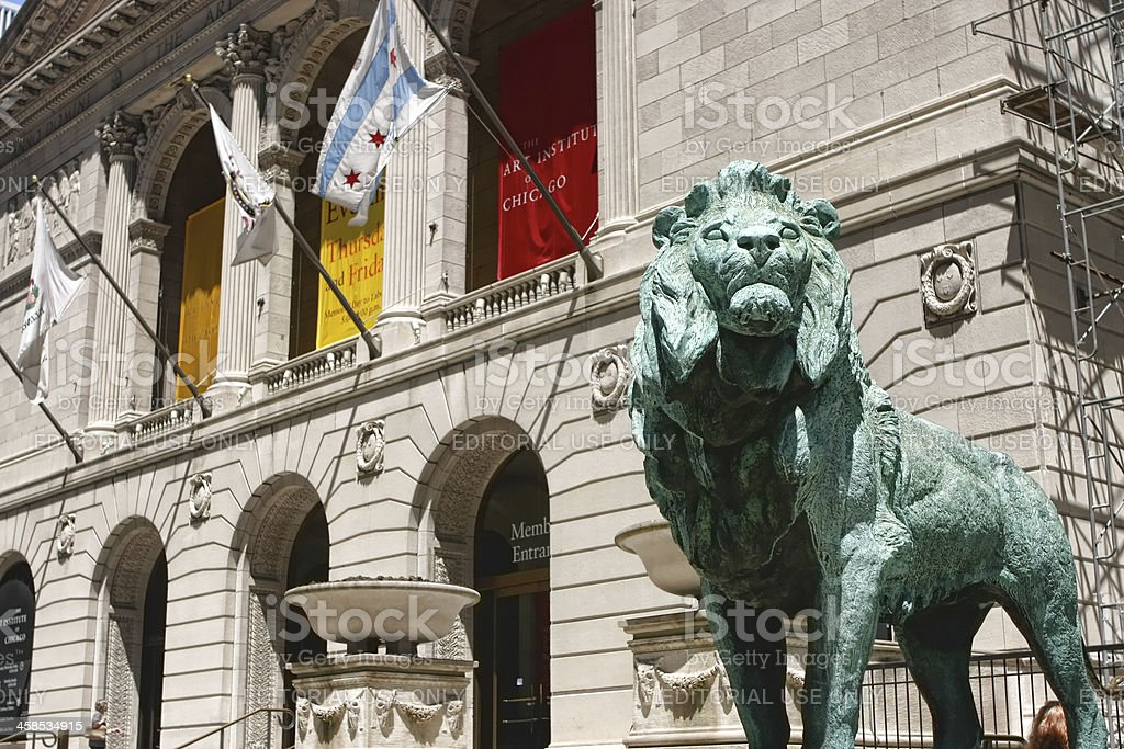 The Art Institute of Chicago Lions royalty-free stock photo