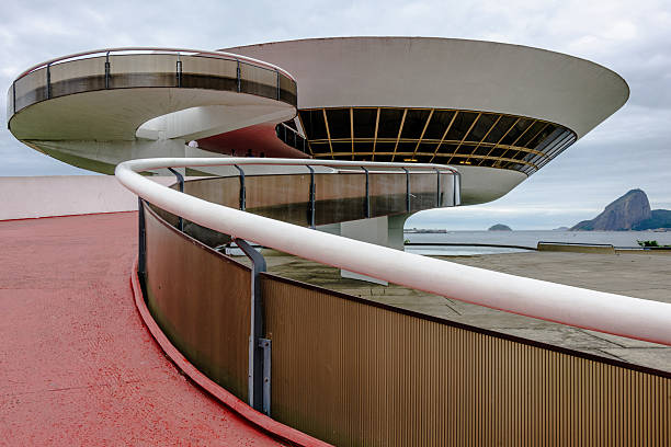 art museum in niteroi, brasilien - mac stock-fotos und bilder