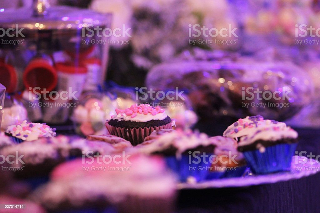 The art of confectionery in a cupcake stock photo
