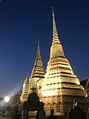 The art of Wat Pho pagoda in twilight