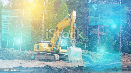 1150202727 istock photo The artificial intelligence built into the excavator of the future generation controls it and conducts geodetic research for future construction. augmented reality view 1136415363