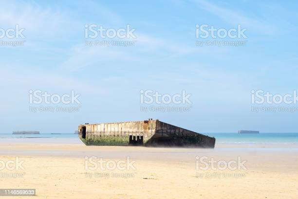 The artificial port on the beach of ARROMANCHES-LES-BAINS