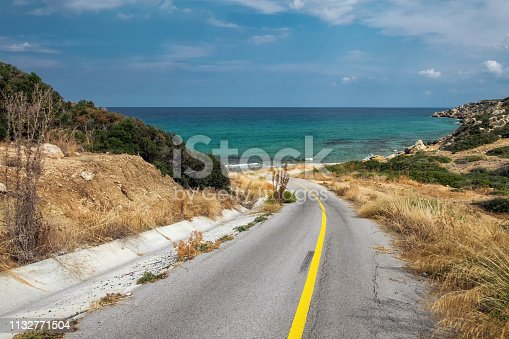 Landscape with road and mediterranean sea