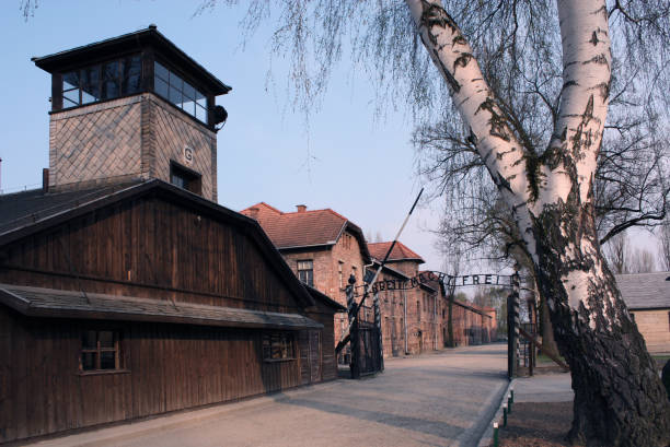 The assembly square in the Auschwitz concentration camp. Buildings of the German death camp. – zdjęcie