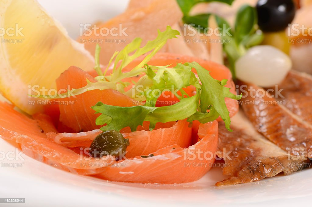 The assorted smoked fish stock photo