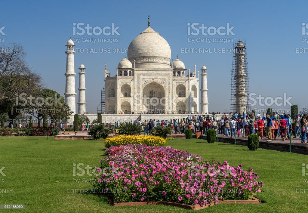 Agra, India - Mar 5, 2017. The astonishing Tai Mahal Mausoleum visited by many people every day. royalty-free stock photo