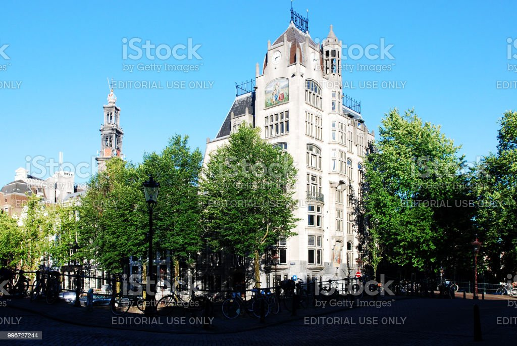 The Astoria Building and Former Greenpeace Head Office. stock photo