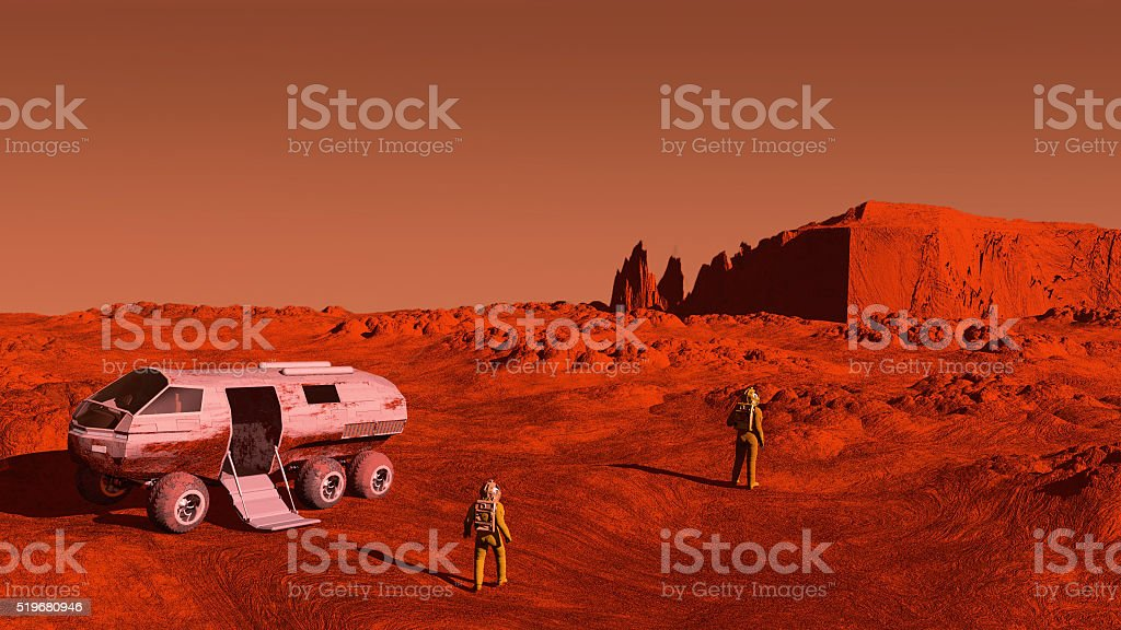 The astronaut and a mars rover stock photo