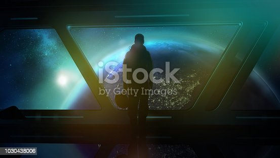istock The astronaut in the ship flies to Earth 1030438006