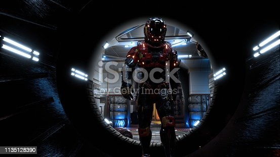 istock The astronaut passes through a futuristic sci-fi tunnel with sparks and smoke, the interior view. 3D Rendering 1135128390