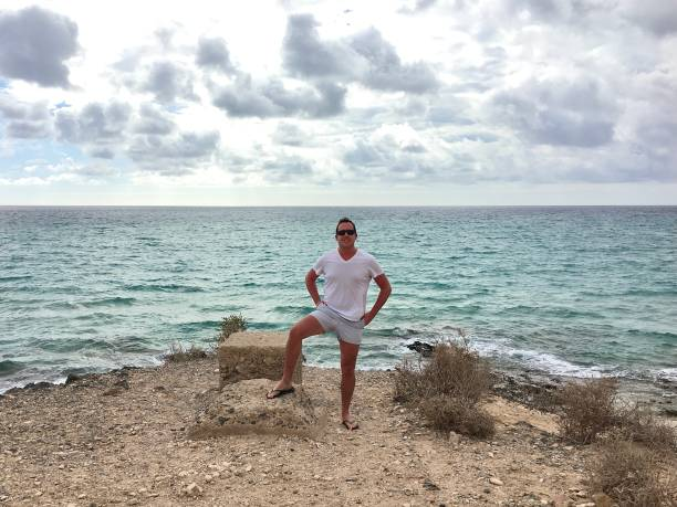 The Atlantic Ocean from Lanzarote. stock photo