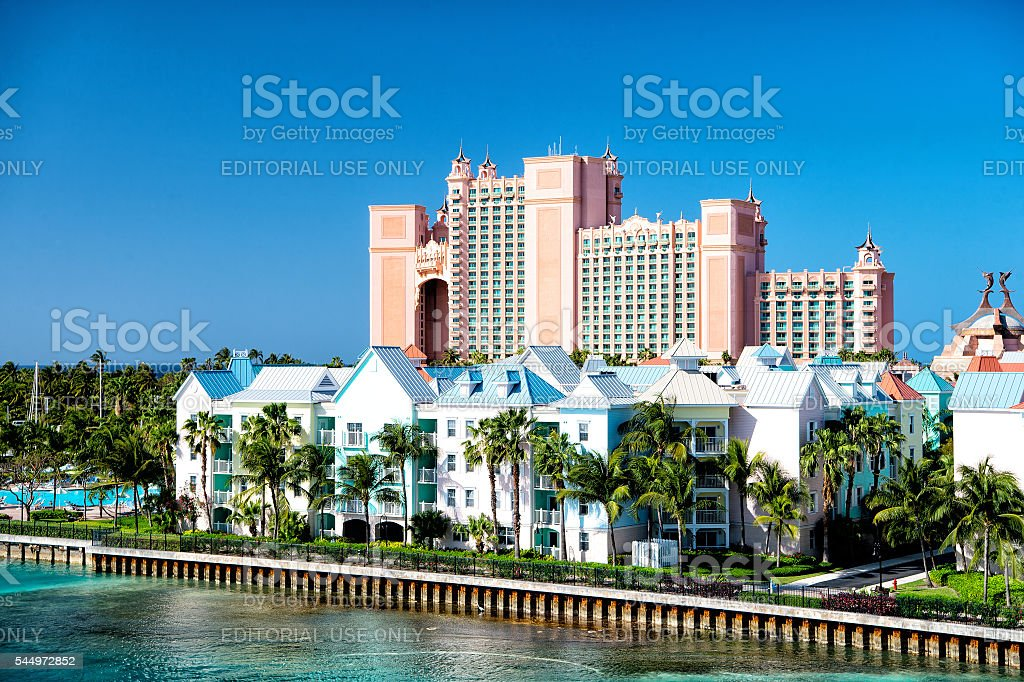 The Atlantis Paradise Island resort, located in the Bahamas stock photo