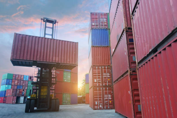 The atmosphere of shipping industry container depot. stock photo