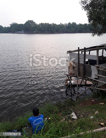 Danau cibereum, Bekasi, Indonesia - September 30, 2016 : The atmosphere of the lake in the afternoon, at that location many are fishing