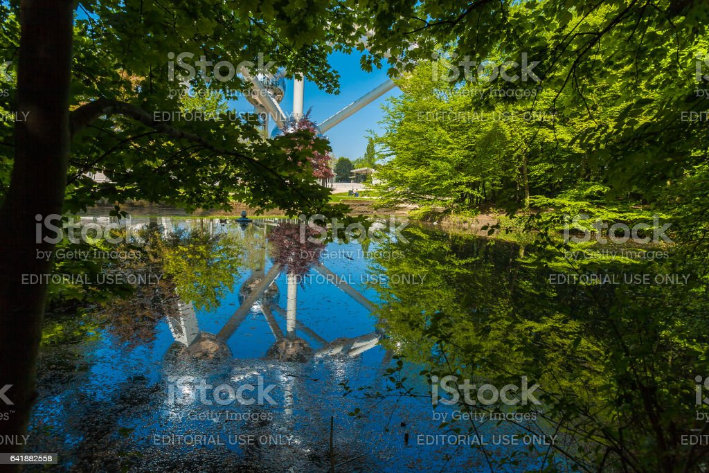 BRUSSELS, BELGIUM - APRIL 5, 2008: The Atomium, monument in the shape of an iron crystal stock photo