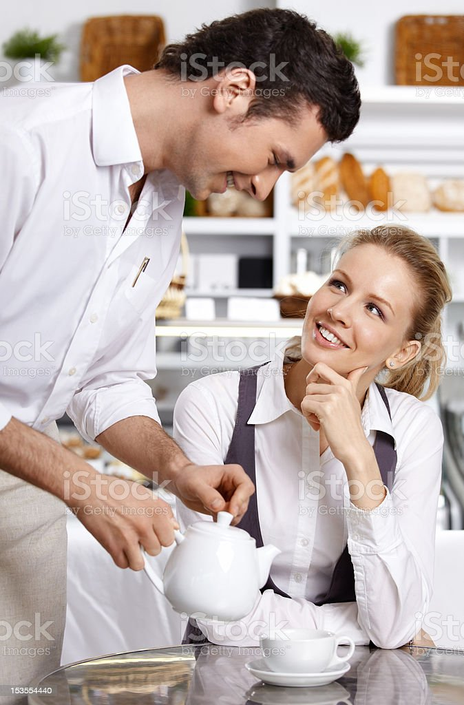 The attentive waiter royalty-free stock photo
