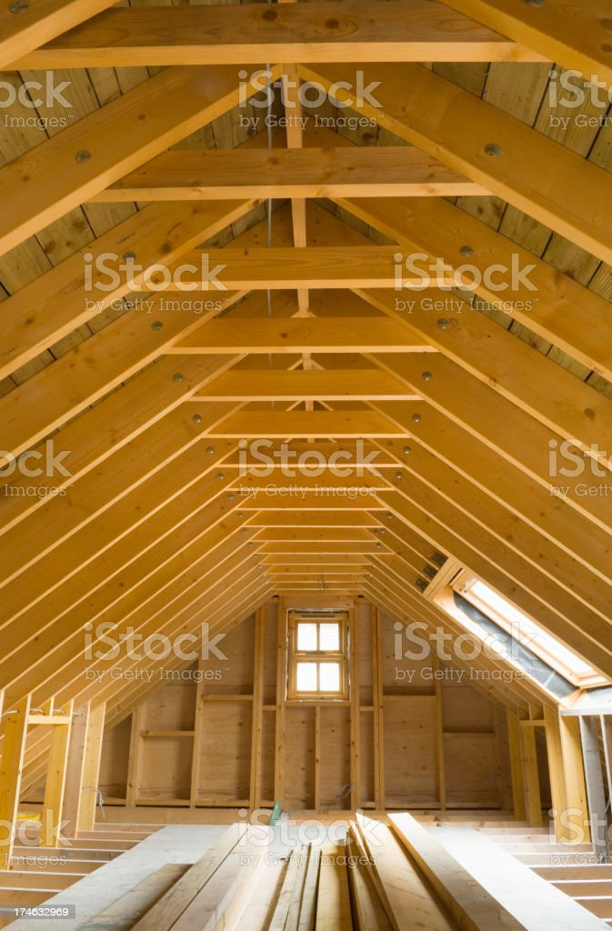 The attic of a newly built house royalty-free stock photo