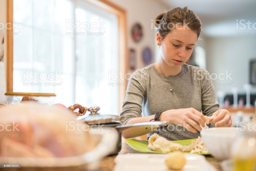 The attractive 16-years-old teenager girl helping to prepare the turkey for Thanksgiving family dinner - foto stock