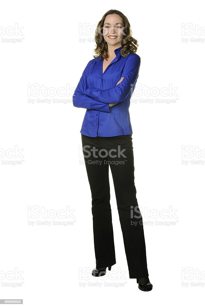 The attractive girl in trousers and dark blue shirt royalty-free stock photo