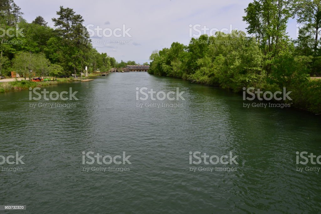 The Augusta canal at Augusta in Georgia. stock photo