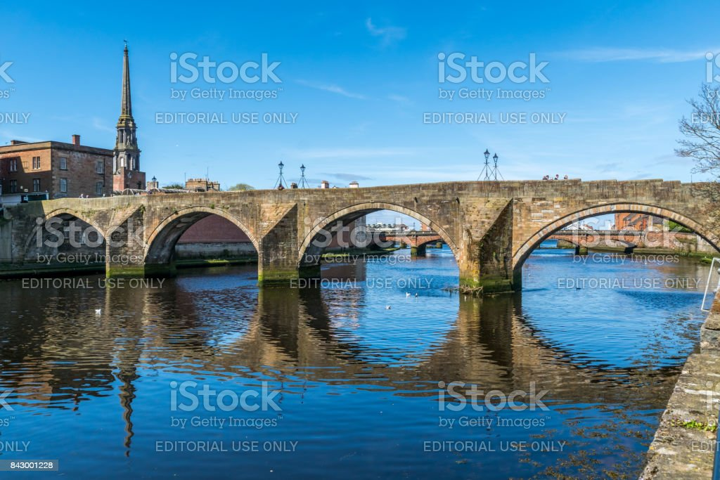 The Auld Brig of Ayr, the River Ayr. stock photo