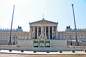The Austrian Parliament Building (Parlamentsgebaude, or das Parlament) on Ringstrasse boulevard in the first district Innere Stadt, Vienna (Wien), Austria (Osterreich)