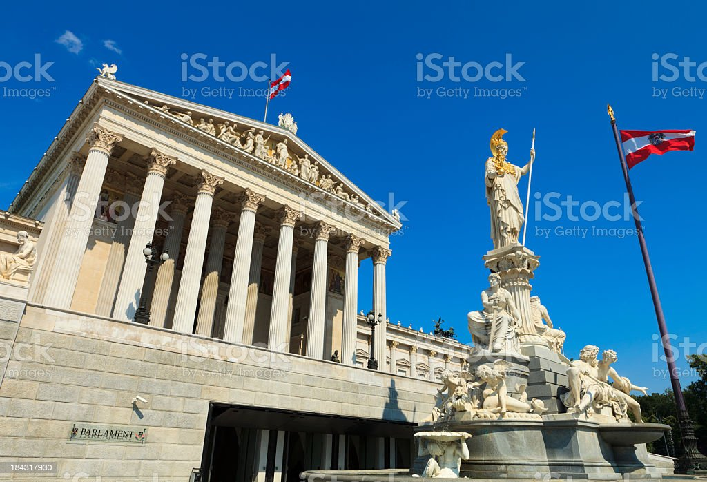 The Austrian Parliament Building The Austrian Parliament Building Architecture Stock Photo
