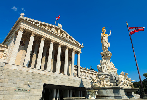 The Austrian Parliament Building Stock Photo - Download Image Now