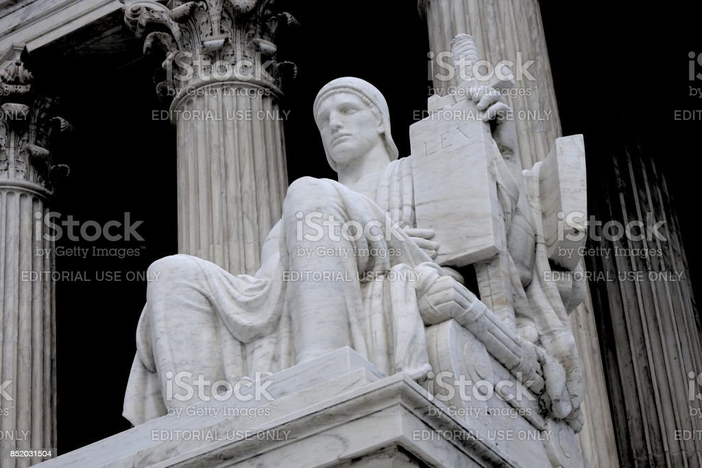 LEX The Authority of Law statue at The Supreme Court of the United States stock photo