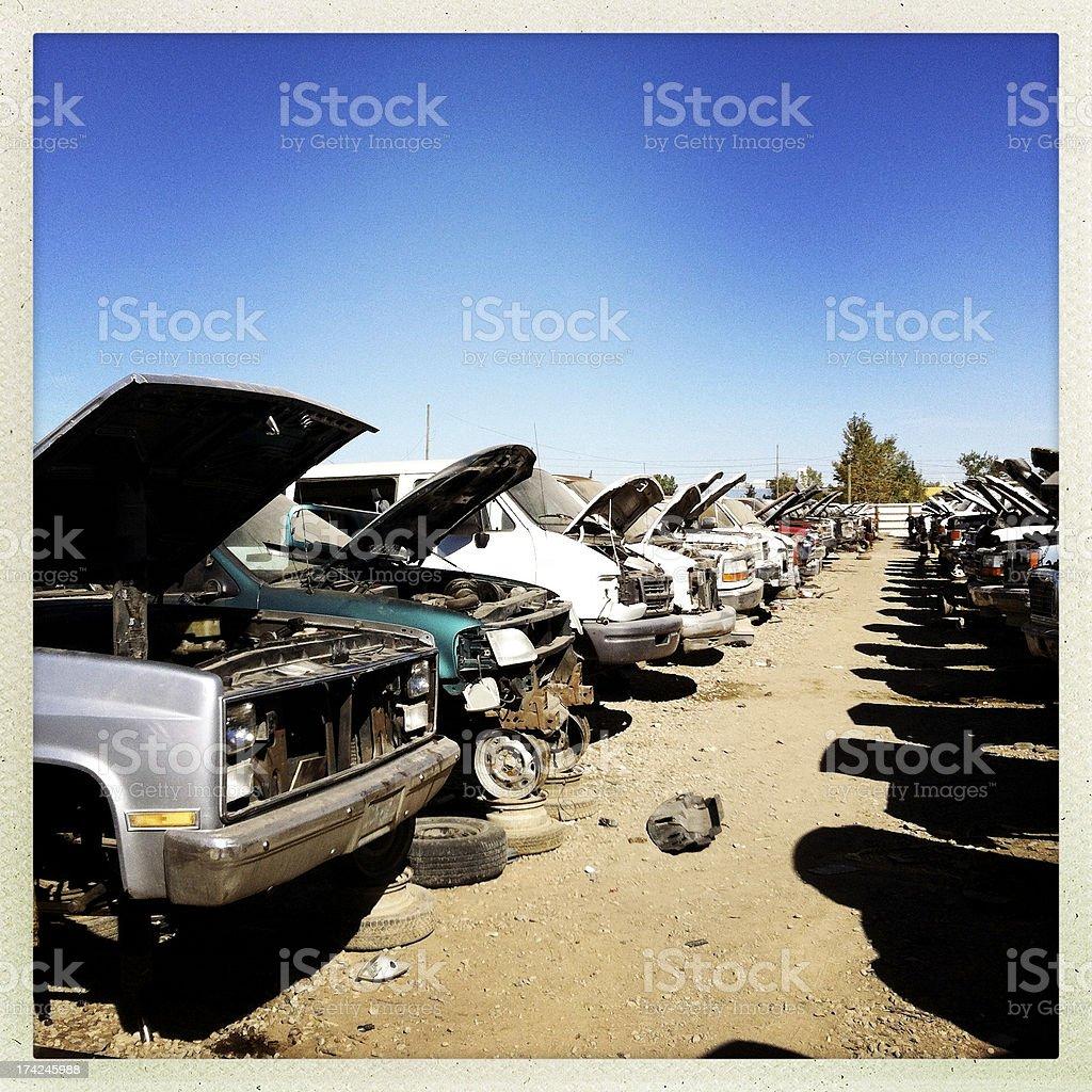 the auto graveyard stock photo