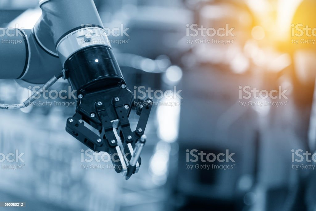 The automatic robot arm stock photo