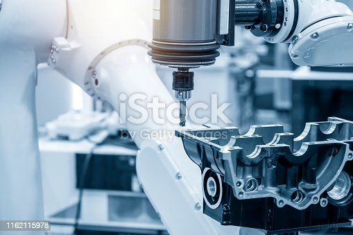 istock The automotive parts finishing process by milling spindle attach the robotic arm. 1162115978