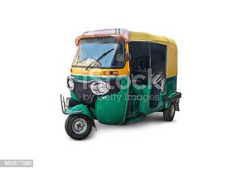 the autorickshaw isolated on white background. Traditional Indian public transport.
