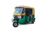 the autorickshaw isolated on white background. Traditional Indian public transport.