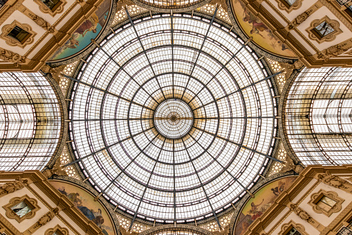 The awesome roof in the middle of the famous shopping centre Galleria Vittorio Emanuele in milan, italy