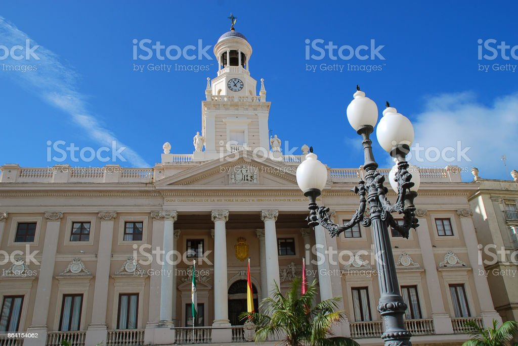 The Ayuntamiento is the town hall of Cadiz's Old City. royalty-free stock photo