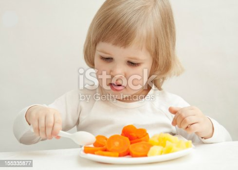 istock The baby girl is eating 155335877